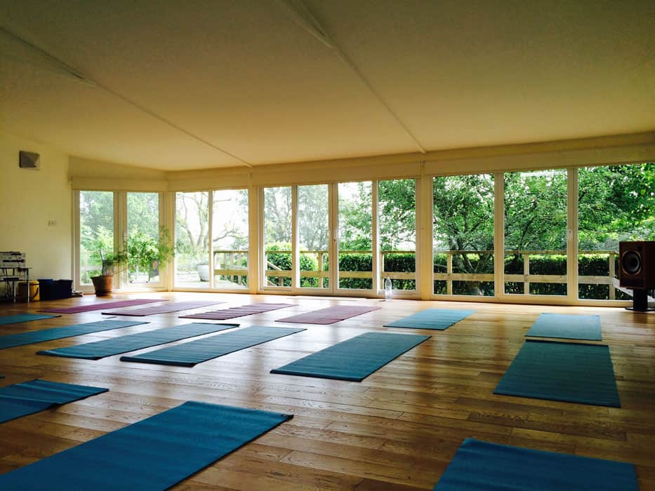 yoga room in lake district with mats and view