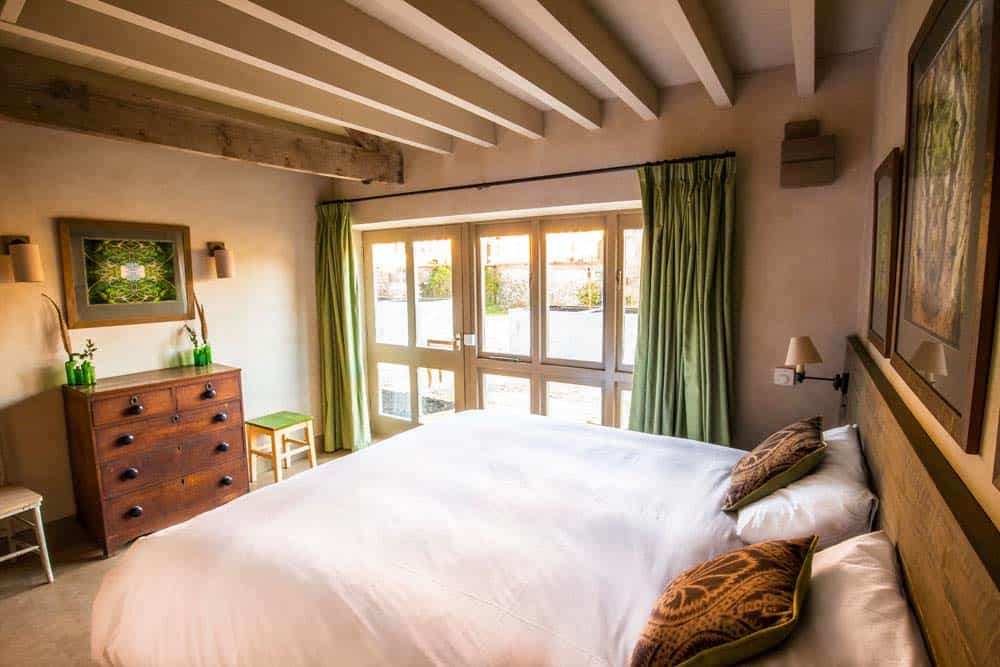 bedroom double bed large windows - august bank holiday yoga retreat norfolk