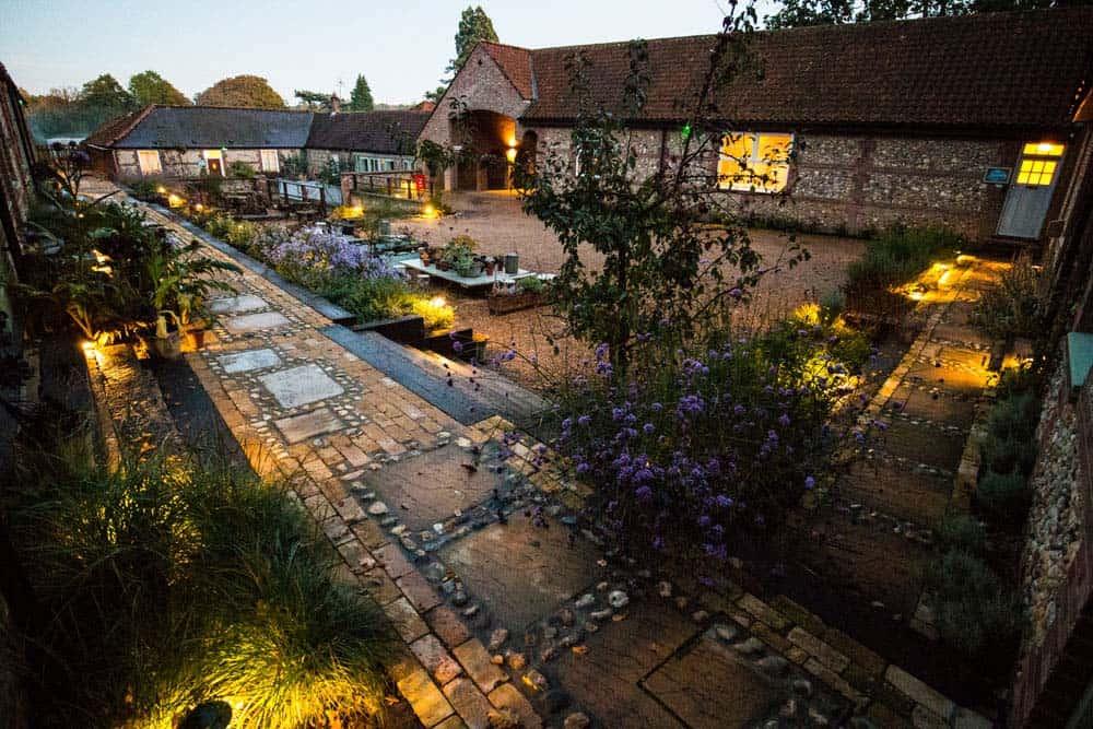 courtyard at night norfolk yoga retreat