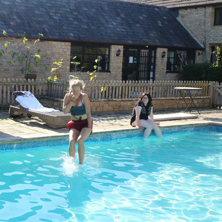 Guest Jumping into Swimming Pool in Thrupp