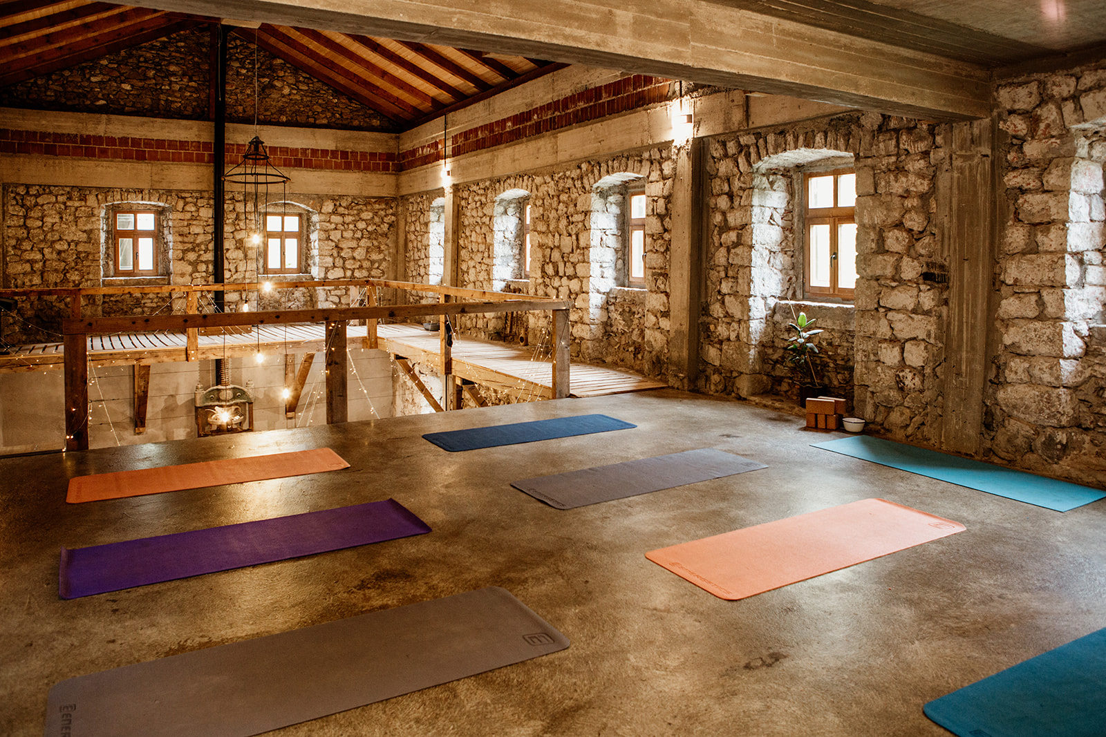 yoga space with mats down - hiking yoga holiday montenegro