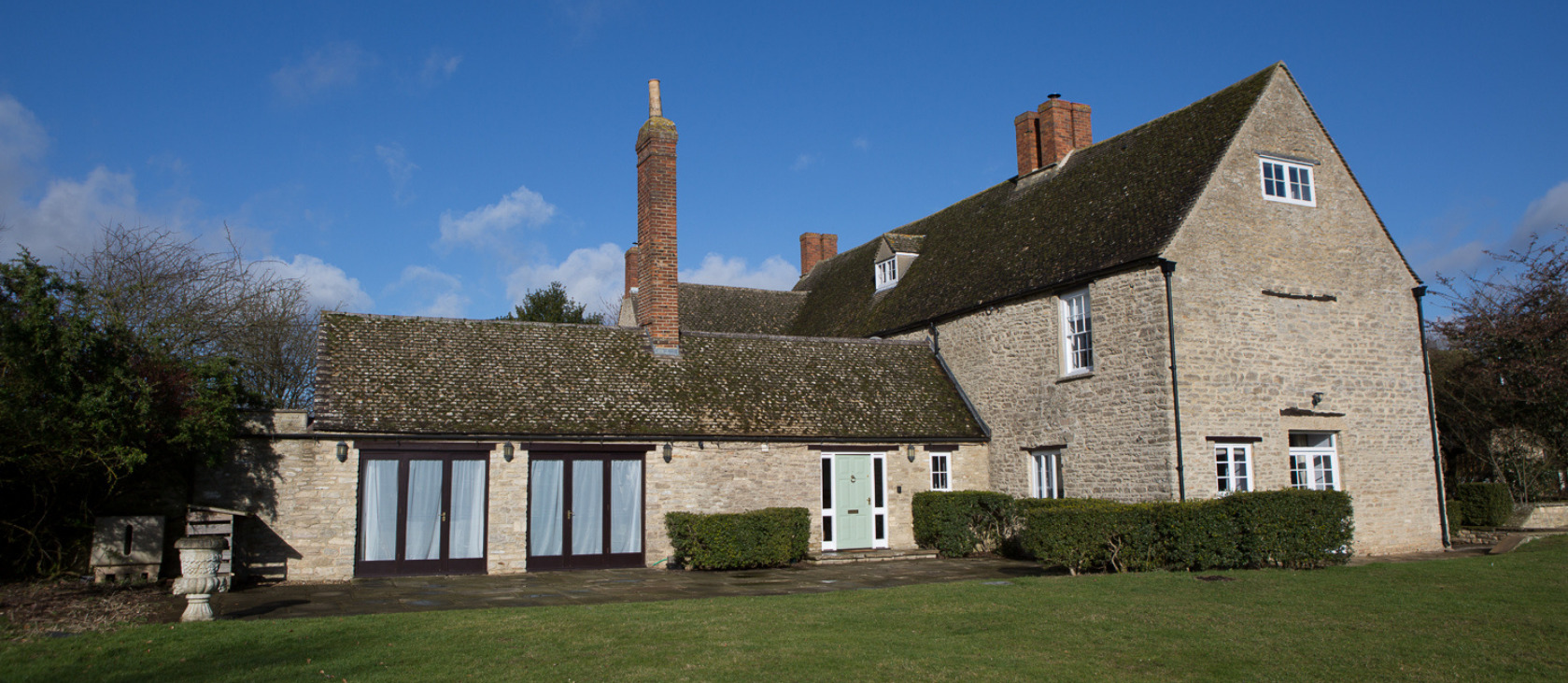 manor house and blue sky