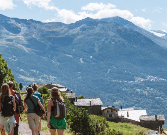 people in group hiking french alps