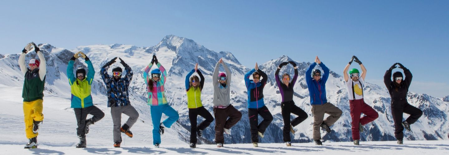 tree pose on mountain skiing yoga holiday french alps