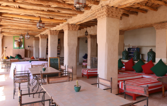 outdoor dining area and tables yoga holiday Marrakech