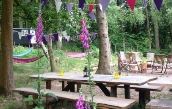 outdoor seating area glamping eco yoga retreat