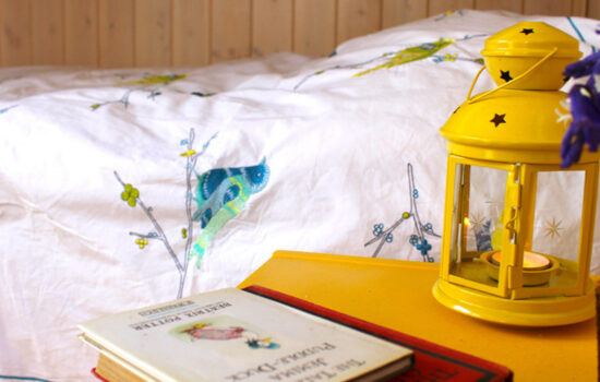 books, lantern, table and bed