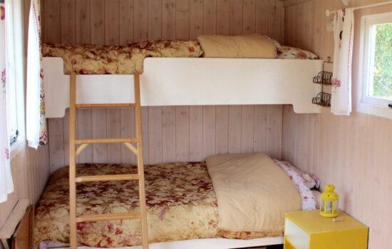 bunk in shepherds hut glamping eco yoga retreat