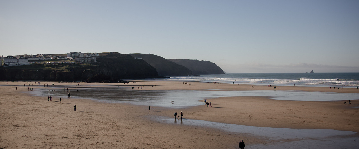 beach with tide out and headland